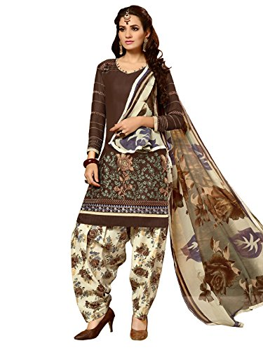 KANCHNAR Women's Cotton Dress Material (462DR2010_Free Size_Brown)