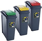 Pack of 3 Recycling Bins 25L 25 Litre Plastic Recycle Dust Bin Kitchen Garden (Red/ Green / Yellow)