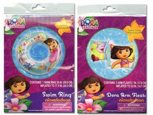Dora the Explorer Inflatable Swim Ring and Arm Floaties Set by What Kids Want
