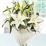 Golden Cart Garden Fresh DESIGNER FRESH FLOWER BOUQUET to Convey that 'special feeling' (WHITE LILIES - Medium)