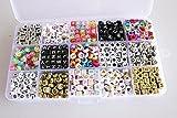 PsmGoods 1100pieces DIY Buchstabenperlen Kinder Perlen-Material 6mm / 7mm Gemischte Alphabet Letter Perlen Acryl Perlen
