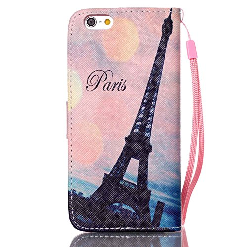 iPhone 6S Plus Hülle, iPhone 6 Plus Hülle, ISAKEN iPhone 6S Plus /6 Plus Hülle Muster, Handy Case Cover Tasche for iPhone 6S Plus / 6 Plus, Bunte Retro Muster Druck Flip Cover PU Leder Tasche Case Sch Rosa Himmel Eiffelturm Paris