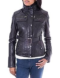 Señoras de las mujeres negro real Smart de piel estilo militar moda Slim Fit abrigo/