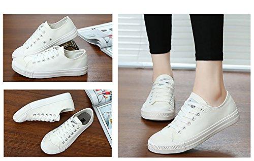 Canvas Basse Tela Scarpe per Donne Piatto Casuale Sportive Sneakers 8 Colori Nero Bianca Giallo Rosso 35-40 Bianca(scegliere 1-2 dimensioni in su)