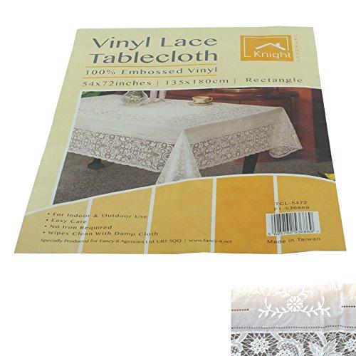 Attraktive &Stylisches PVC Tischdecke, gehäkelt, Spitze, In verschiedene Größe &Form, 135 X 180 cm, rechteckig, Spitze) (Oval Vinyl Spitzen Tischdecke)