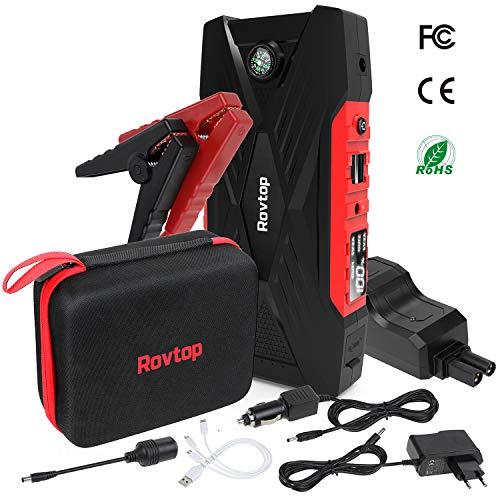 Rovtop Avviatore Emergenza per Auto, 600A 16500mAh Avviatore Batteria Booster Auto (Fino a 7,5L a Benzina o Diesel da 6L) con USB QC 3.0 per Tablet Power Starter Portatile per Auto