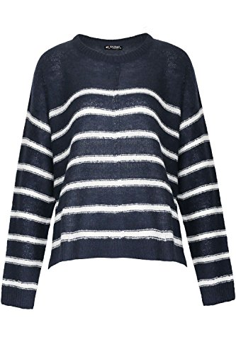 Fashion Star Damen Pullover * - Ribbed Knit Striped Sweater