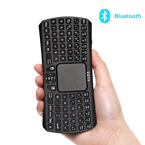Wireless Mini Tastatur mit Touchpad, Jelly Comb Bluetooth Kabellose Tragbare Handheld Multimedia Tastatur Deutsches Tastaturlayout (QWERTZ Layout) mit Wiederaufladbarer Li-ion Batterie, Kompatibel mit Windows, Android, iOS Test