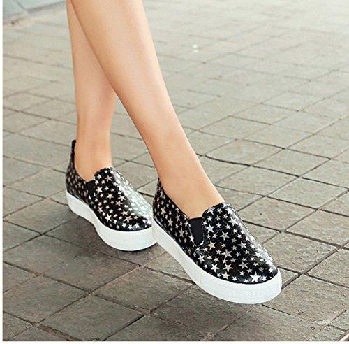 Aisun Femme Mode Etoile Plateforme à Enfiler Loafers Baskets Noir