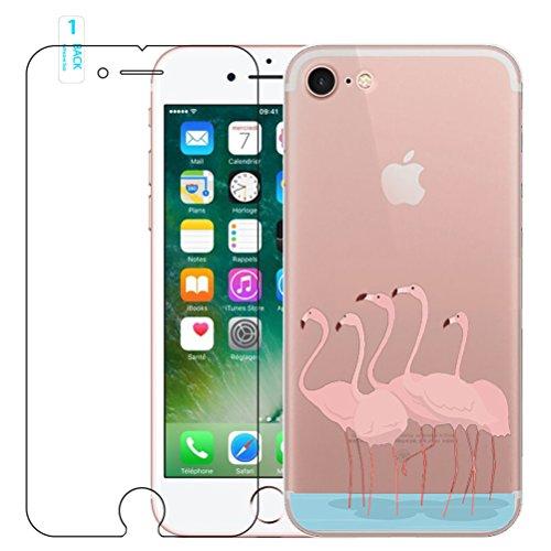 iPhone 6 Plus/ 6S Plus Flamingo Custodia in Silicone con Pellicola Proteggi Schermo in Vetro Temperato, Blossom01 Ultra Sottile in Gel Morbido TPU Silicone Cover con Cover per iPhone 6 Plus/ 6S Plus M #1