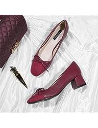 Xue Qiqi Zapatos de la Corte Mariposa con Cabeza Cuadrada Zapatos Mujer  Gruesa con Zapatos de Dama de Tacón Alto Zapatos de… a0bc7d95ae77
