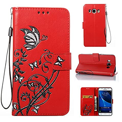 Meet de Samsung Galaxy J5 2016(J510), Luxury Slim PU Leather Flip Protective Magnetic Wallet Cover Case?With Stand Function and Credit Card Slot - red