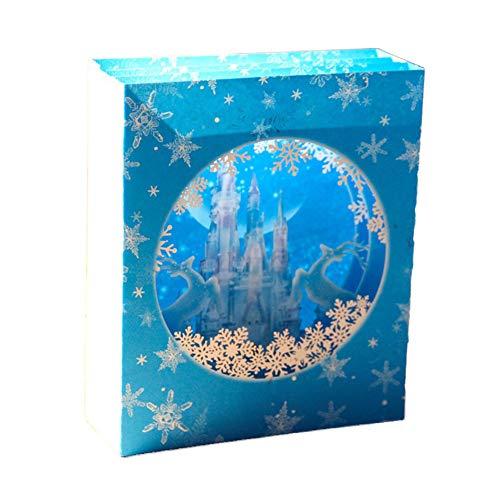 Aruie biglietto di auguri 3d in carta stampata piegato scatola castello doppio cervo fiocco di neve blu bianco bicolore festa benedizione carte regalo natale