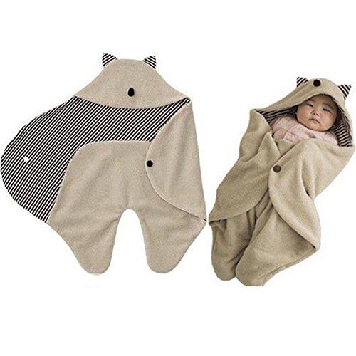 Swaddle Decke, warm Fleece mit Kapuze Wrap Schlafsack für 0–8Monate Neugeborene Baby