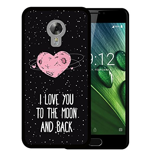 WoowCase Acer Liquid Z6 Plus Hülle, Handyhülle Silikon für [ Acer Liquid Z6 Plus ] Herz Liebe Satz - I Love You to The Moon and Back Handytasche Handy Cover Case Schutzhülle Flexible TPU - Schwarz