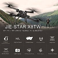 Goolsky JIE-STAR X8TW Wifi FPV 0.3MP Camera Foldable 2.4G 6-Axis Gyro Selfie Drone Barometer Height Hold RC Quadcopter G-Sensor RTF