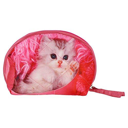 Indiano Digital Graphic Pussy Cat Viso Wristlet Borsa - Adorabile stampa all-over - trapuntato in (Stampa Trapuntato Borsa)