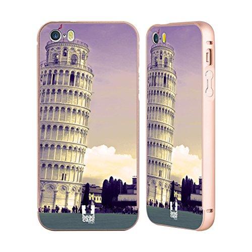 Head Case Designs Mont Fuji Japon Meilleurs Endroits Or Étui Coque Aluminium Bumper Slider pour Apple iPhone 5 / 5s / SE Tour De Pise Italie
