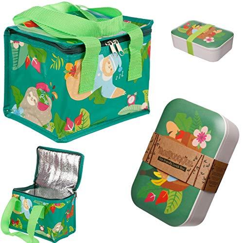 Bundel Thermotasche Kühltasche mit Bambus Motiv Brotdose,Eco-Friendly, BPA und Phthalat frei, Wiederverwendbare Lunchbox Set für Kindergarten Schule Picknick Camping Fishing und outdors