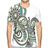 K0k2t0 3D Printed T Shirts,Hand Drawn Traditional Flower Arrangement Ornate Design Vibrant Colors S
