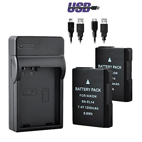 EN-EL14 & EN-EL14a,BPS Camera Battery and USB Charger for Nikon D3100, D3200, D3300, D5100, D5200, D5300, D5500 (Package: 2pcs Battery + USB