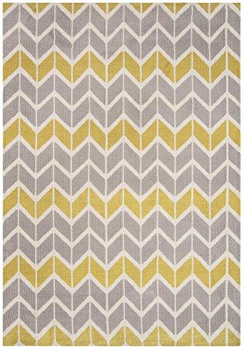 KADIMA DESIGN Moderner Designer Teppich Armel Chevron Rug 200x300cm Lemon/Grey AR06 Zitrone/Grau Microfibre Polyester (Chevron Läufer Teppich Schwarz)