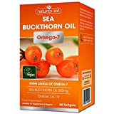 'Natures Aid Sea Buckthorn Oil, 500 Mg, 60 Softgels (high Levels Of Omega-7, Natural Source Of Omega 3, 6 And 9 With Vitamins A, B, C And E And Antioxidants, Premium Omega Oil, Vegan Society Approved)