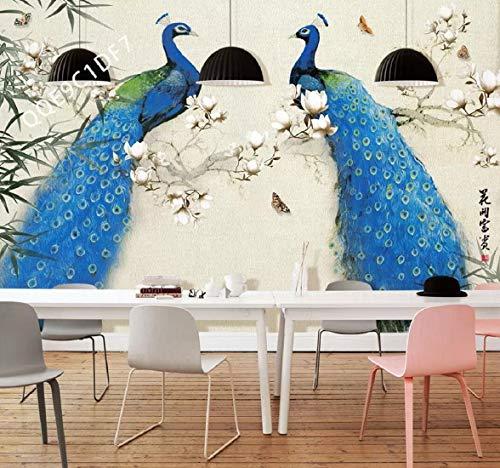 Fototapete 3D Effekt Tapete Ölgemälde Magnolia Pfau Blume Und Vogel Sofa Vliestapete 3D Wallpaper Moderne Wanddeko Wandbilder