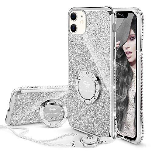 OCYCLONE Hülle Kompatibel mit iPhone 11, Glitzer Diamant Handyhülle mit Ring Ständer Schutzhülle für Mädchen Frauen, Glitzer iPhone 11 Handyhülle 6,1 Zoll - Silber