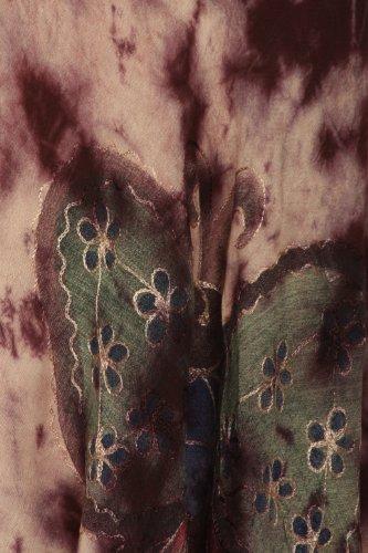 Sakkas Bindungsfärbung Schmetterling Panzer Mantel Kaftan Mid Länge Baumwollkleid Schokolade / Sahne