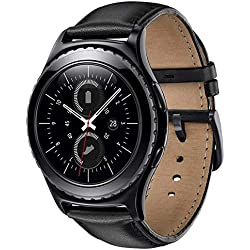 Correas Sundaree Galaxy Watch 42mm/Gear Sport/Gear S2 Classic,20mm Cuero Reemplazo Banda Pulseras de Repuesto Correa para Samsung Galaxy Watch 42mm SM-R810/Gear Sport/Gear S2 Classic(S2-Negro Cuero)