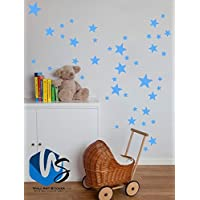 55 Mixed size Stars Wall Stickers Kid Decal Art Nursery Bedroom Vinyl Decoration (Arctic Blue)