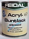 Feidal Acryllack Buntlack, wasserverdünnbar, für Innen und Außen, Glänzend, Tiefschwarz RAL 9005, 750 ml