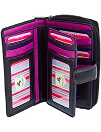 Visconti Multi Compartment Soft Leather Purse Wallet For Ladies - Berry / Purple