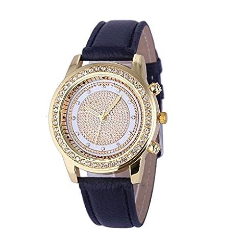 Ouneed® Genève Mode en cuir pour femme en acier inoxydable montre-bracelet à quartz analogique