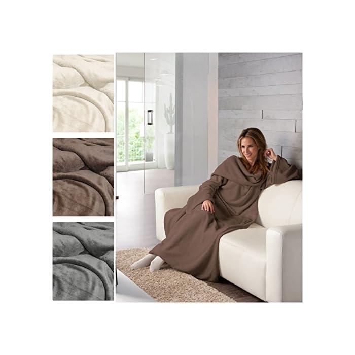 MODERNO XXL Super Soft Kuscheldecke Wohndecke Tagesdecke mit Ärmeln TV Decke 150 x 240cm 1