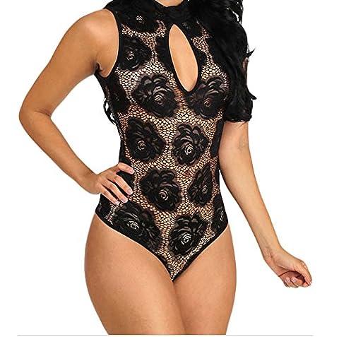 Bling-Bling Floral Lace Sleeveless Bodysuit(Black,L)