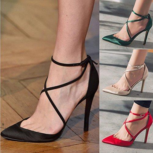 SHOESHAOGE En Satin Avec Boucle Printemps Chaussures Chaussures Femmes Talon Talon Bandage Super Fine Sandales Femme Chaussures De Mariage Couleur unie