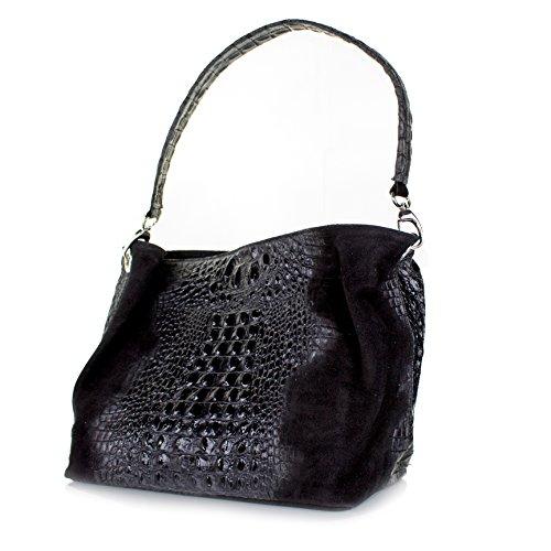 Echt Leder Wildleder Handtasche Kroko Optik Damentasche Schultertasche (schwarz) schwarz