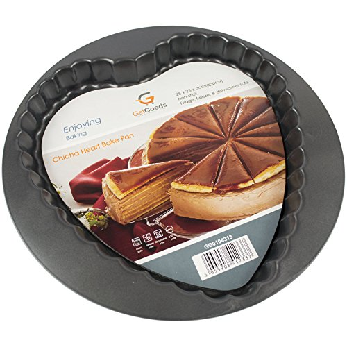 Get merci a forma di cuore crostata-28cm Ø circa-antiaderente in acciaio al carbonio-Base larga/Fluted Edge-Frigorifero/freezer/lavabile in lavastoviglie.