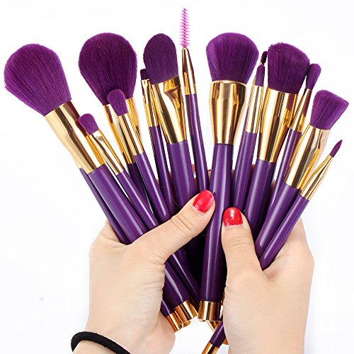 Neverland 15pcs Makeup Brushes Set Foundation Blusher Powder Eyeshadow Blending Eyebrow Makeup Brushes Purple