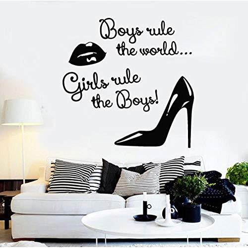Vinile muro applique moda donna labbra scarpe regola citazioni adesivi decorativi salone di bellezza, negozio di abbigliamento decorativo murale 57x57 cm