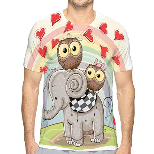 Men's Lightweight Crewneck T-Shirt Cute Cartoon Elephant Two Owls Rainbow Fashion -