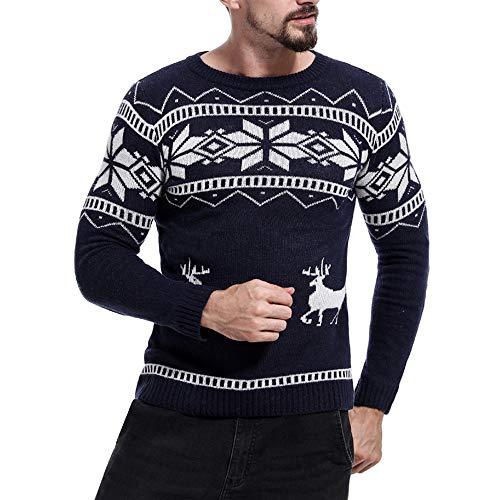 FRAUIT Herren Drucken Pullover Sweater Männer Herbst Winter Hemd Unisex Strickpullover Christmas Sweater Faultier Katze Strickmuster Weihnachtspullover (Für Verkauf Preis Faultier)
