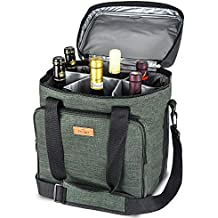 Bolsa de vino con aislamiento de Freshore Bolsa de 6 botellas - Portátil de viaje acolchado Bolsa de transporte de lona ajustable Correa para el hombro - (Verde oscuro)