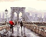 YEESAM ART Neuerscheinungen Malen nach Zahlen für Erwachsene Kinder - Brooklyn Brücke Straße Aussicht Liebhaber 16 * 20 Zoll Leinen Segeltuch