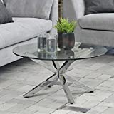 lounge-zone Design Couchtisch Glastisch Star, Glas, Chrom, 82cm 12830