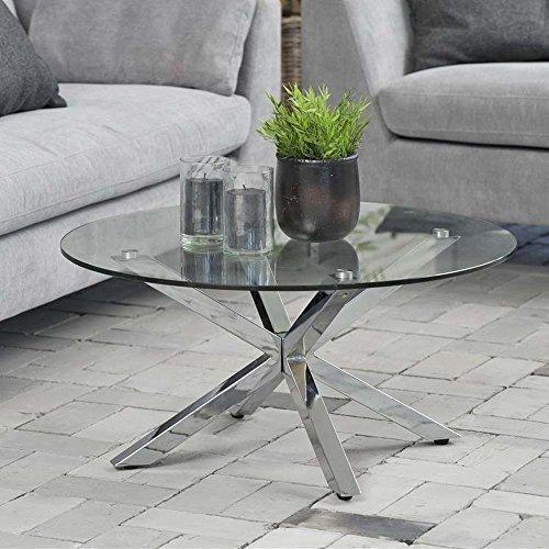 lounge-zone Design Couchtisch Glastisch STAR, Glas, Chrom, 82cm 12830 (Chrom-glas-couchtisch)