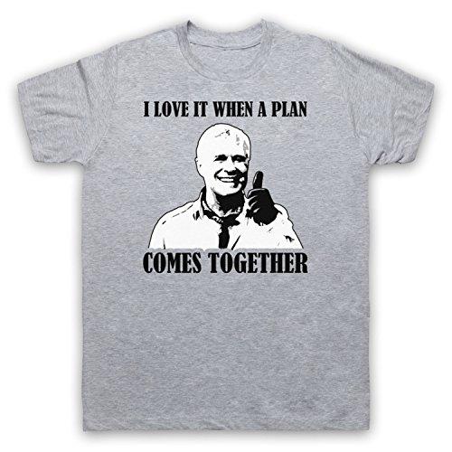Inspiriert durch A Team Hannibal I Love It When A Plan Comes Together Unofficial Herren T-Shirt Grau