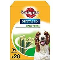 Pedigree Pack de Dentastix Fresh de uso Diario para la Limpieza Dental y Contra el Mal Aliento de Perros Medianos (4 Packs de 28ud)